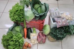 Foto: Divulgação - Cesta de produtos alimentícios da agricultura familiar de Caarapó